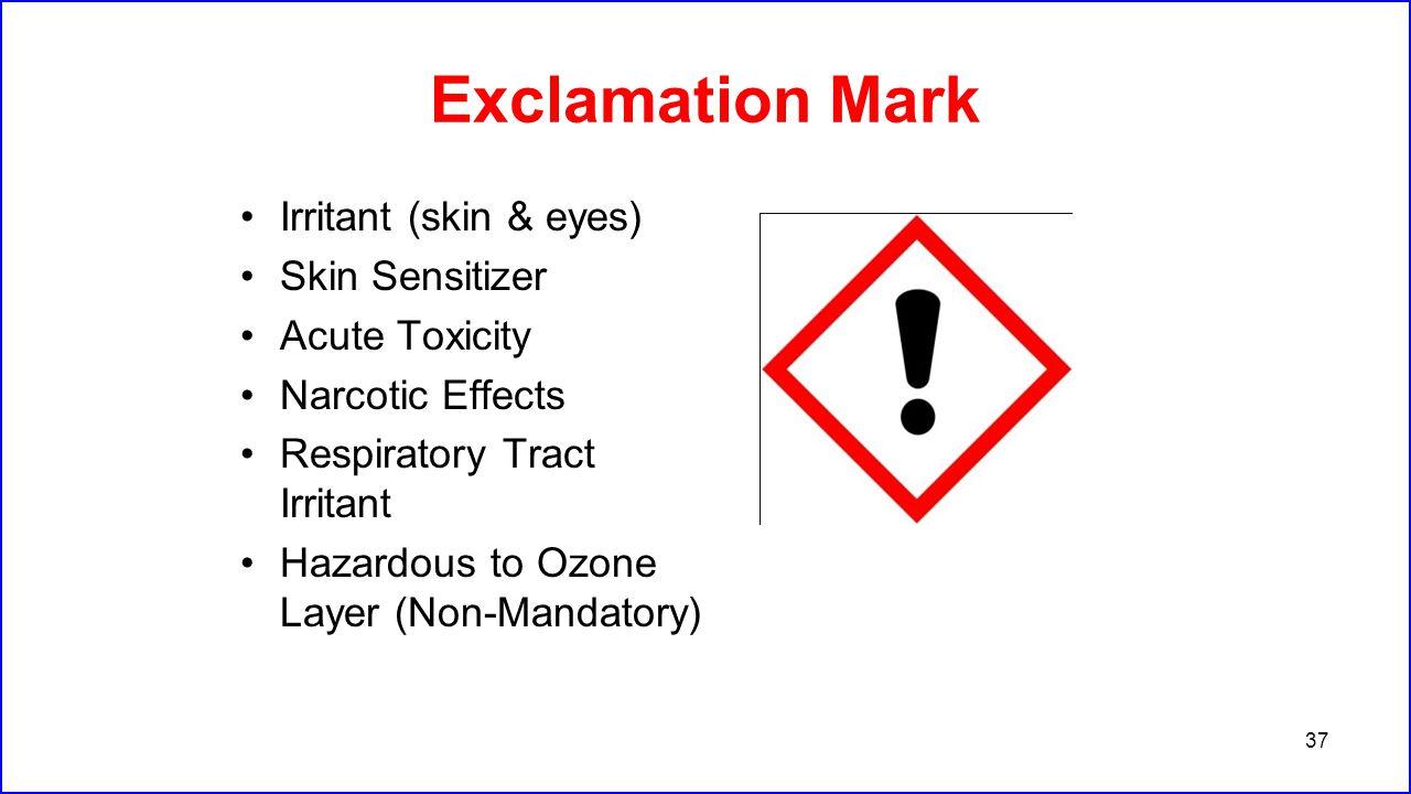 Exclamation Mark Irritant (skin & eyes) Skin Sensitizer Acute Toxicity