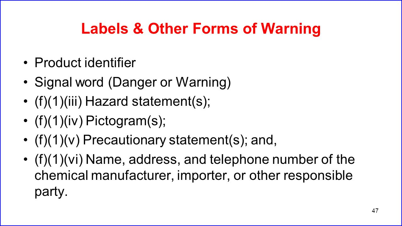 Labels & Other Forms of Warning