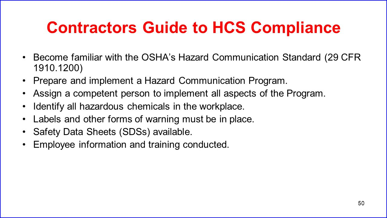 Contractors Guide to HCS Compliance