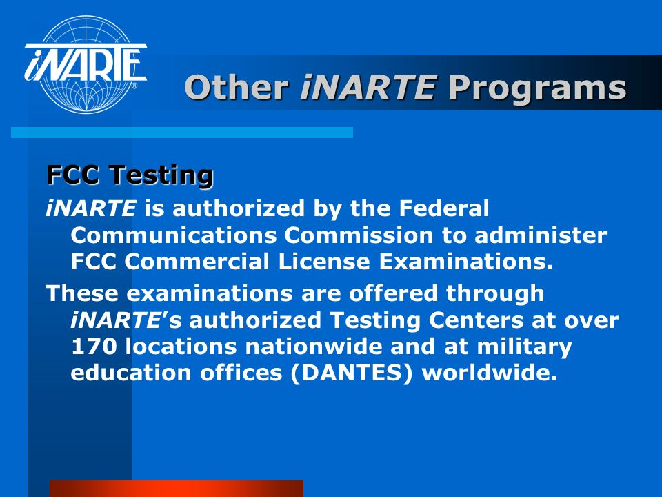 Other iNARTE Programs FCC Testing