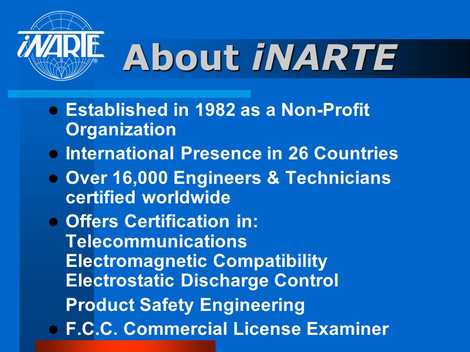 About iNARTE Established in 1982 as a Non-Profit Organization