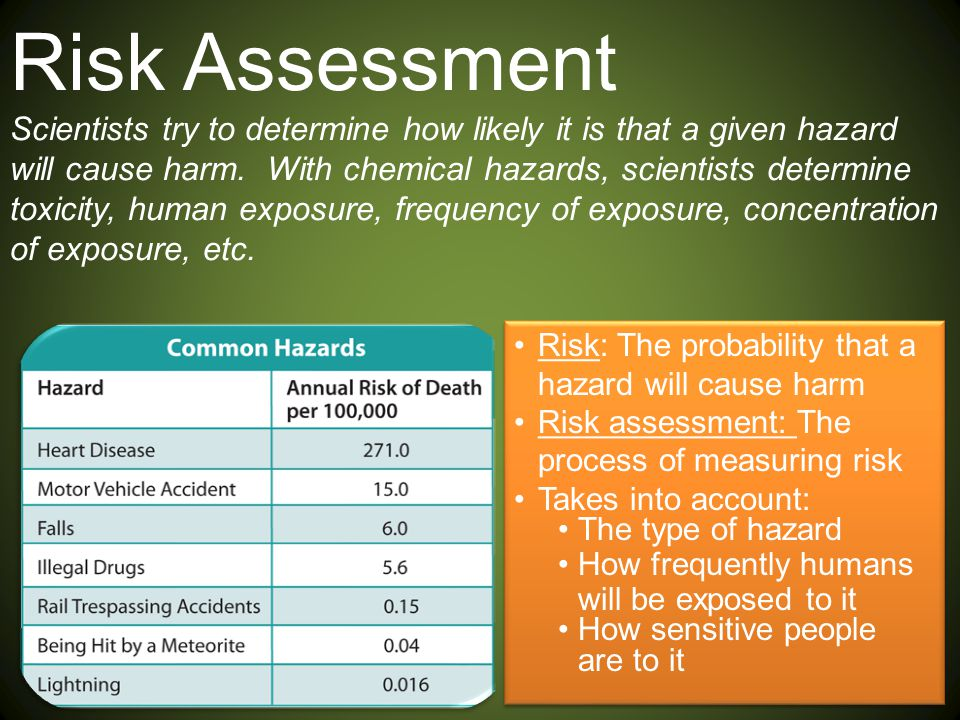 Risk Assessment Scientists try to determine how likely it is that a given hazard will cause harm. With chemical hazards, scientists determine toxicity, human exposure, frequency of exposure, concentration of exposure, etc.