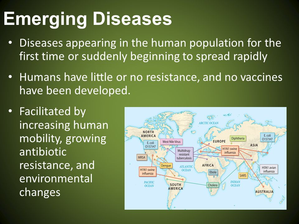 Emerging Diseases Diseases appearing in the human population for the first time or suddenly beginning to spread rapidly.