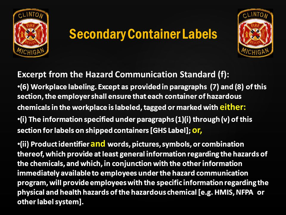 Secondary Container Labels