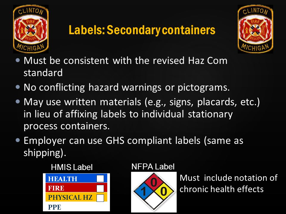 Labels: Secondary containers