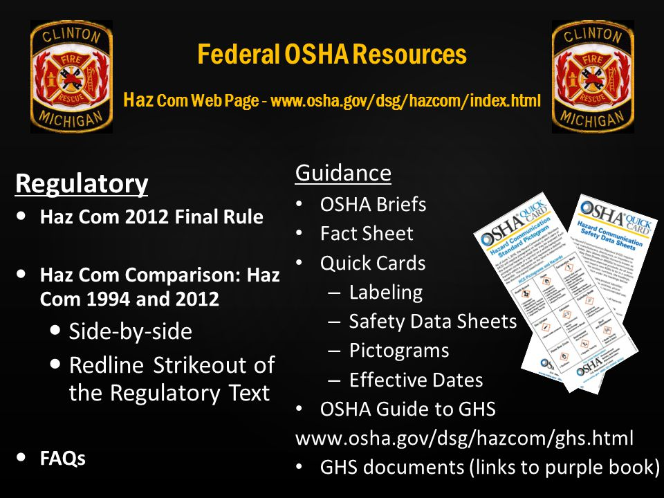Federal OSHA Resources Haz Com Web Page - www. osha