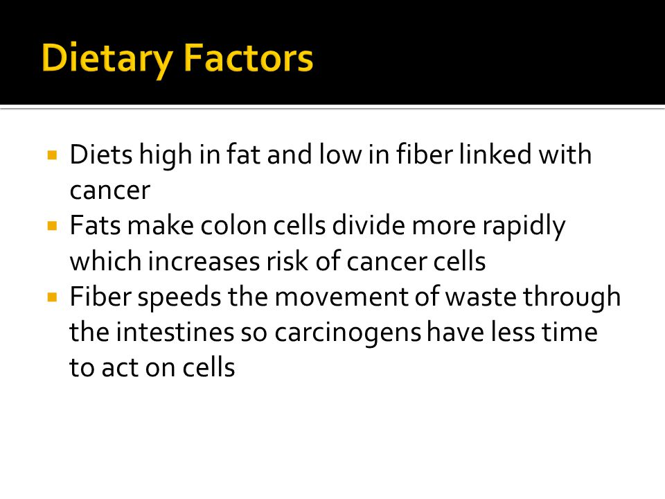 Dietary Factors Diets high in fat and low in fiber linked with cancer