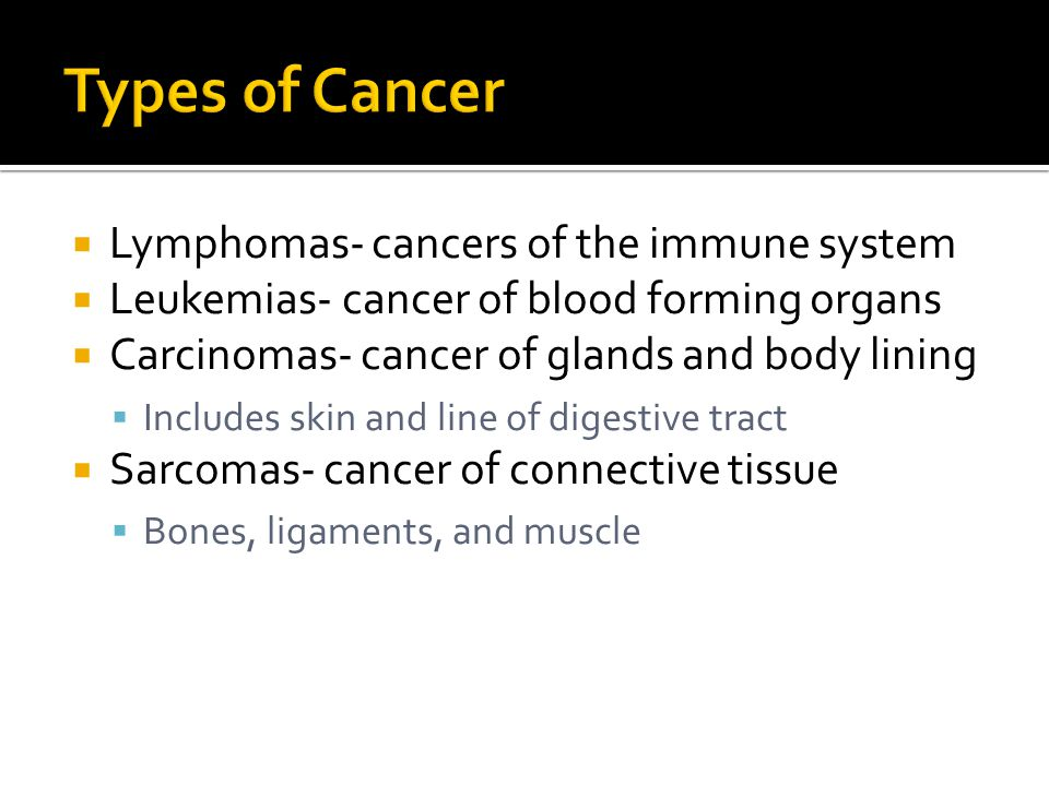 Types of Cancer Lymphomas- cancers of the immune system