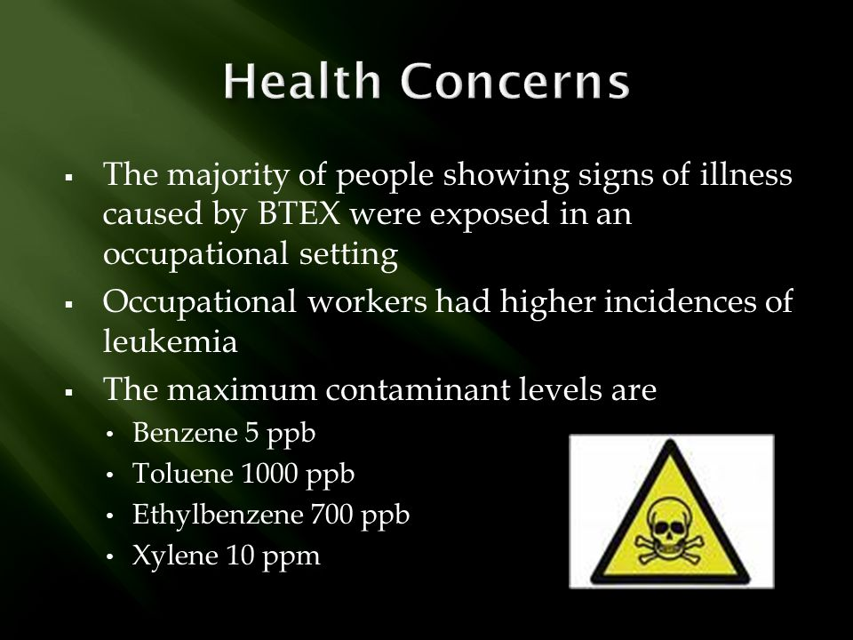Health Concerns The majority of people showing signs of illness caused by BTEX were exposed in an occupational setting.
