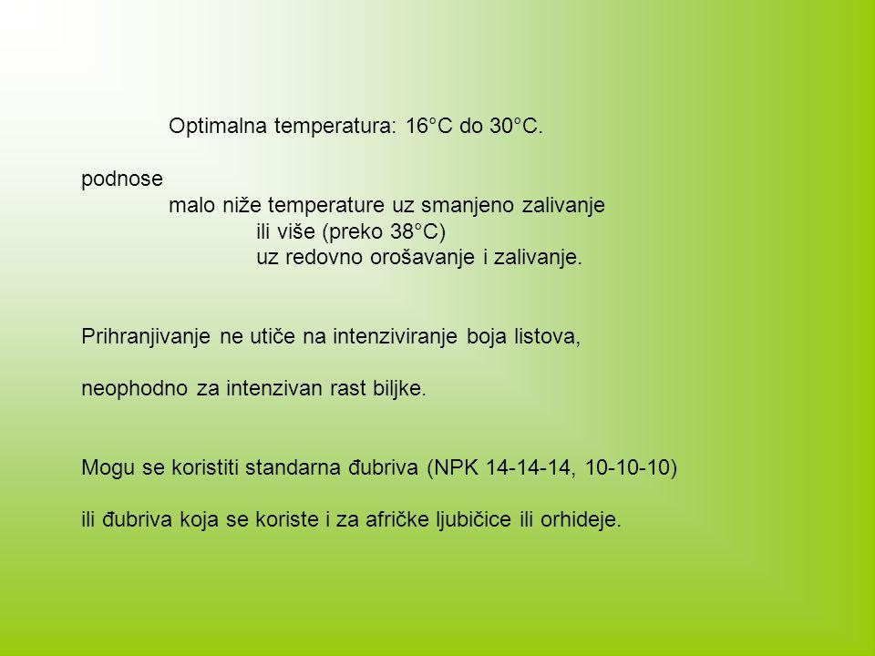 Optimalna temperatura: 16°C do 30°C.