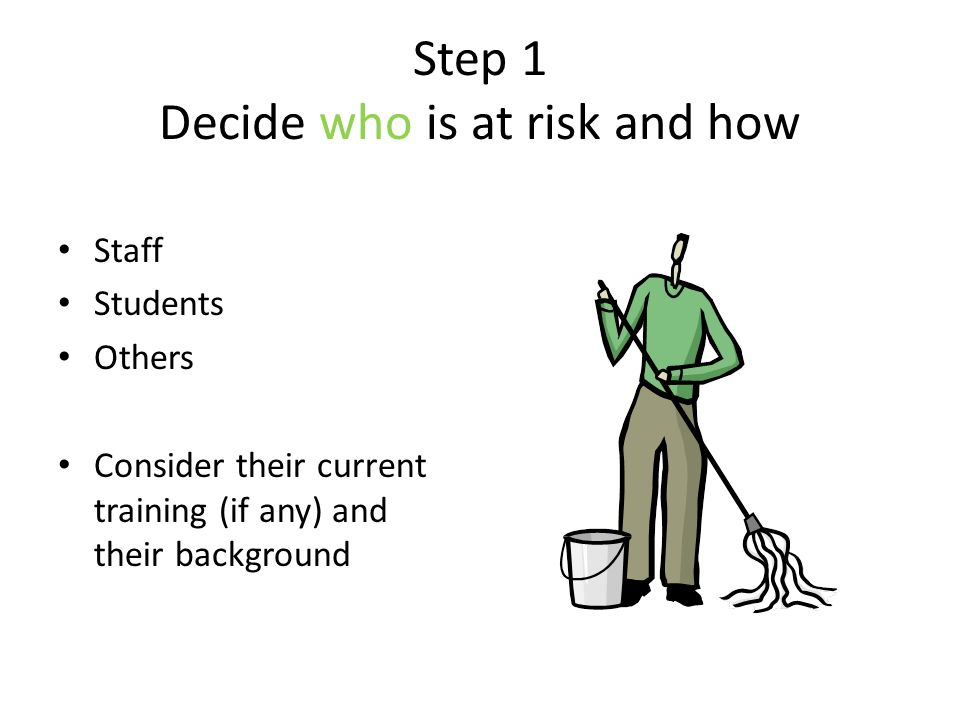 Step 1 Decide who is at risk and how
