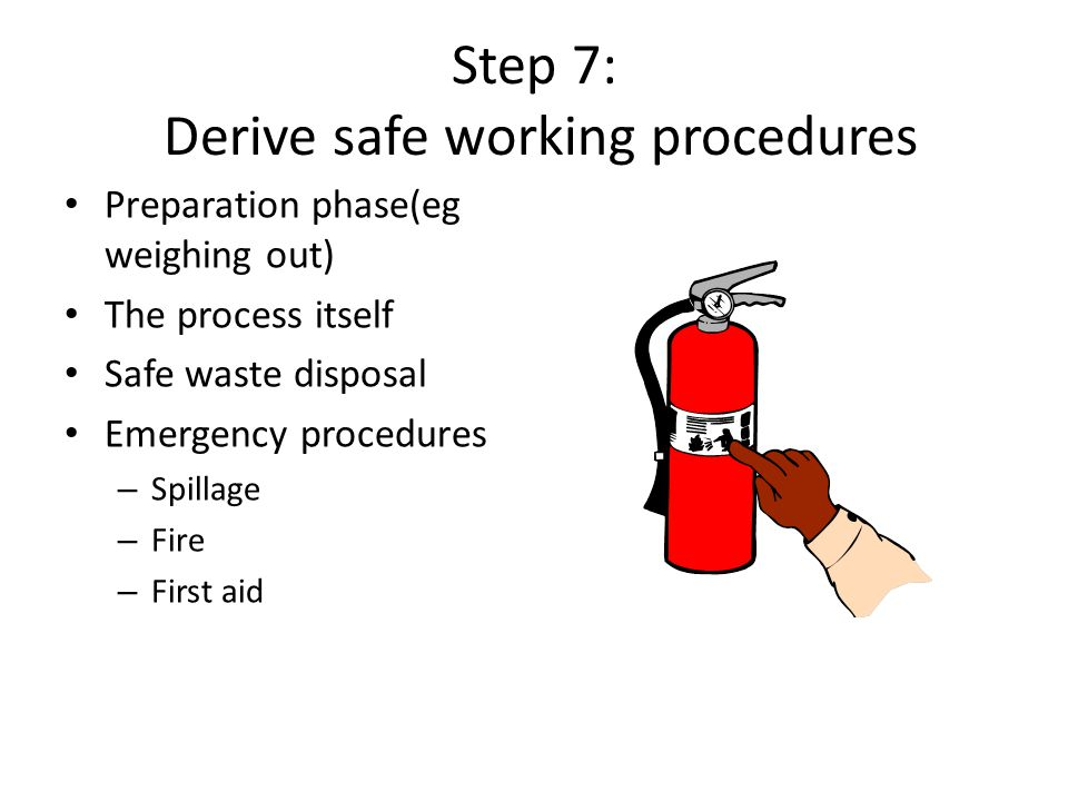 Step 7: Derive safe working procedures