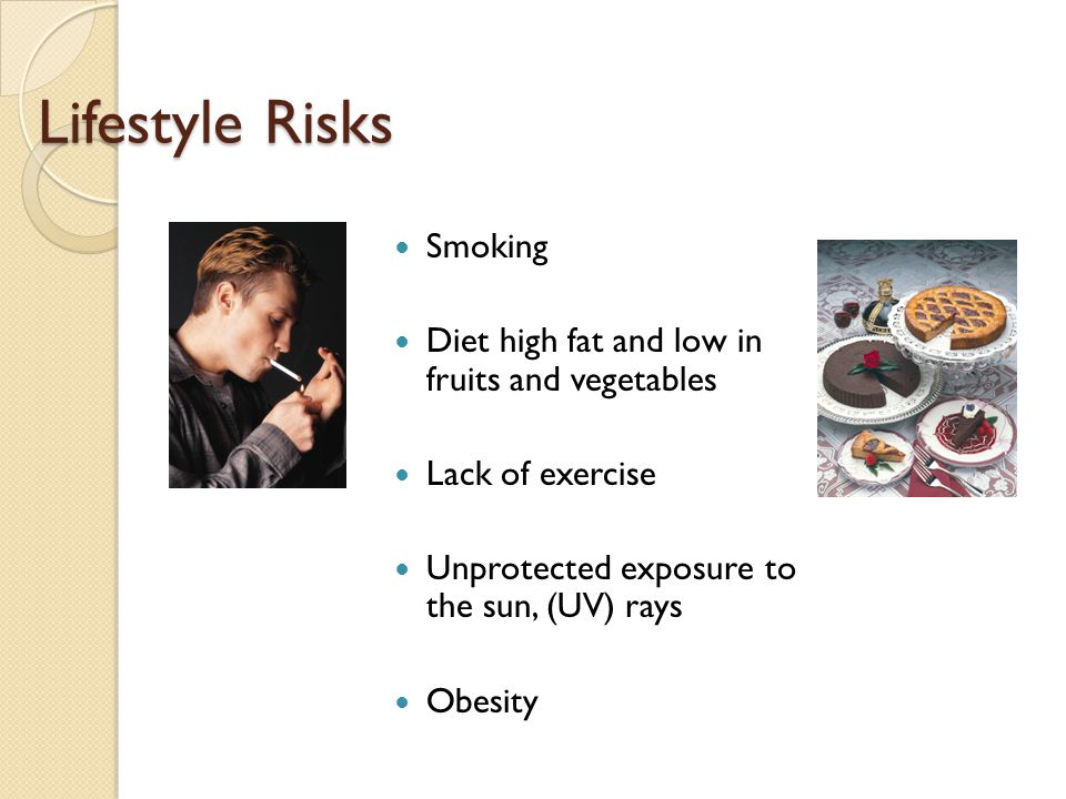 Lifestyle Risks Smoking Diet high fat and low in fruits and vegetables