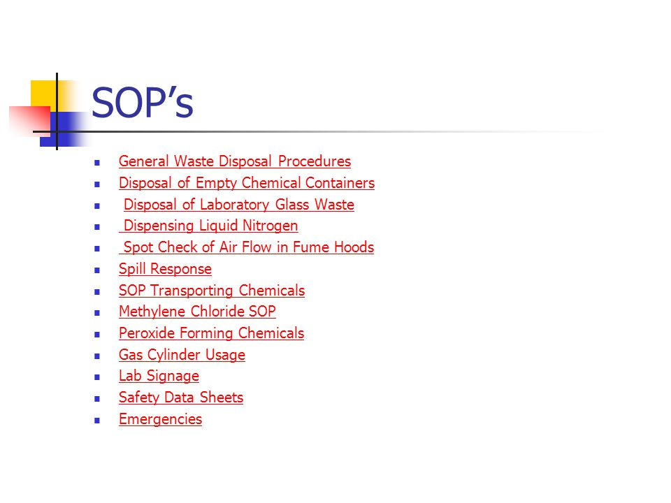 SOP's General Waste Disposal Procedures