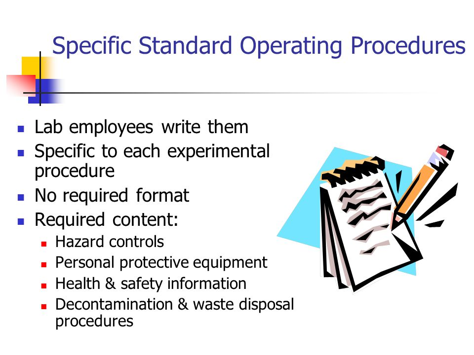 Specific Standard Operating Procedures