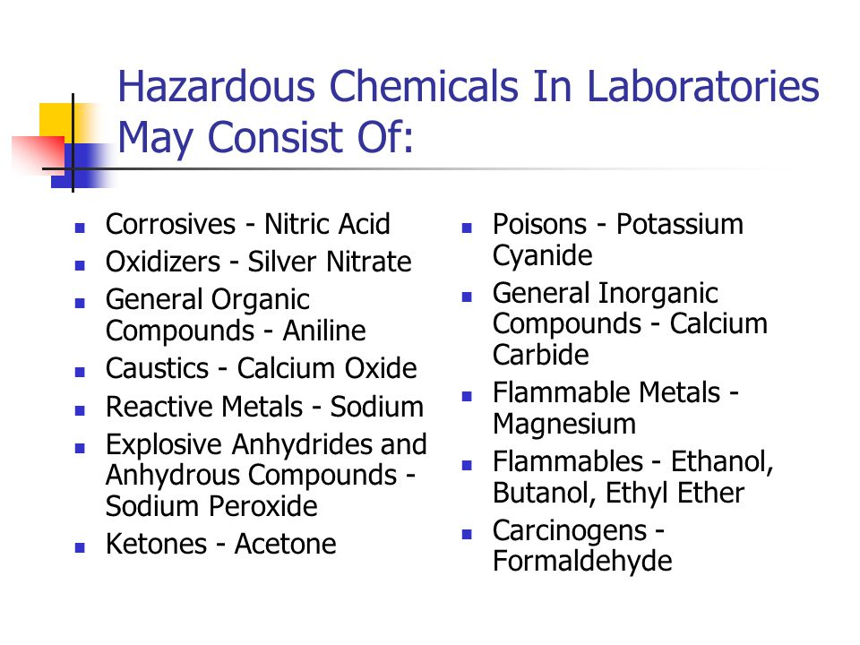 Hazardous Chemicals In Laboratories May Consist Of: