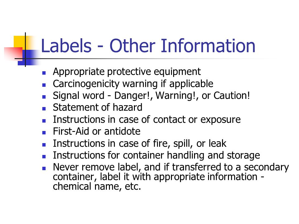 Labels - Other Information