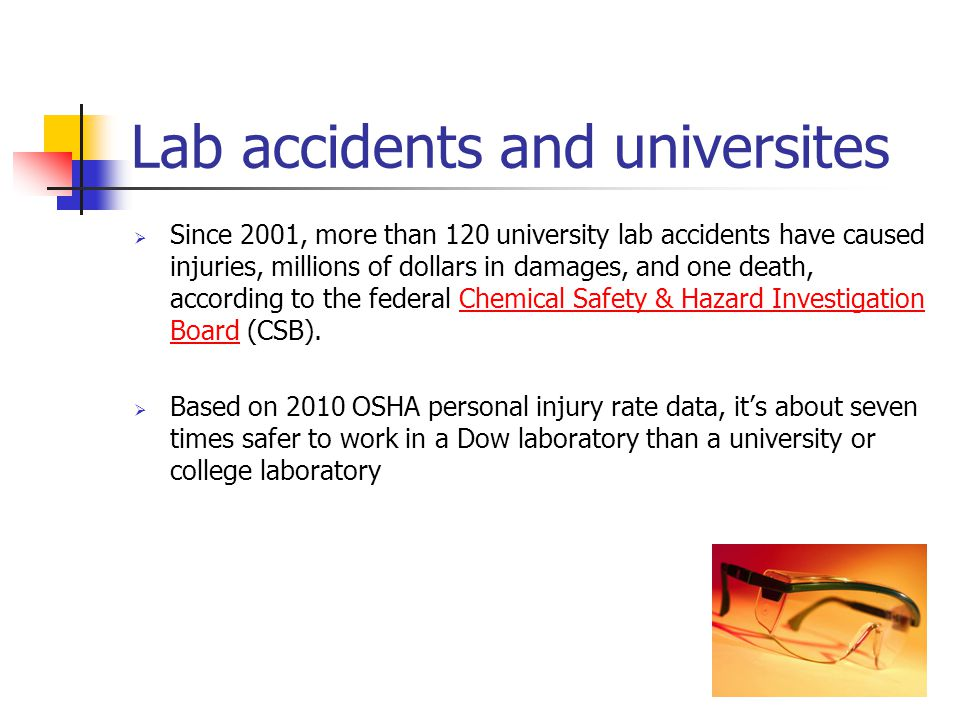 Lab accidents and universites