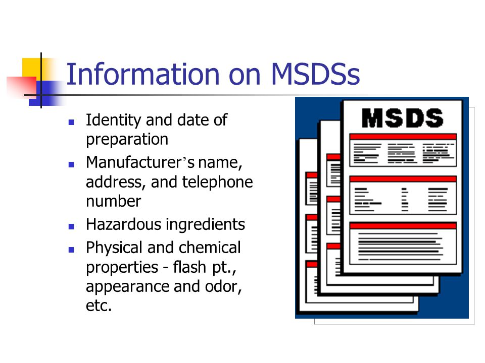 Information on MSDSs Identity and date of preparation