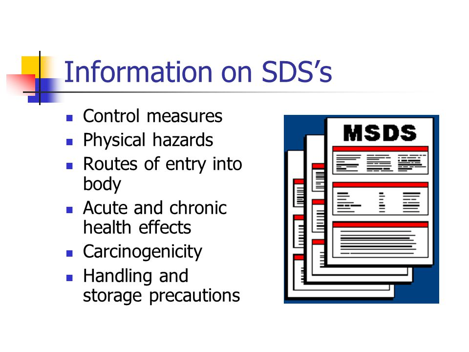 Information on SDS's Control measures Physical hazards