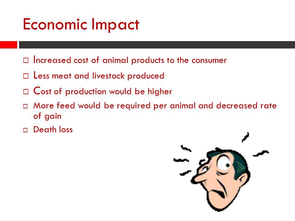 Economic Impact Increased cost of animal products to the consumer
