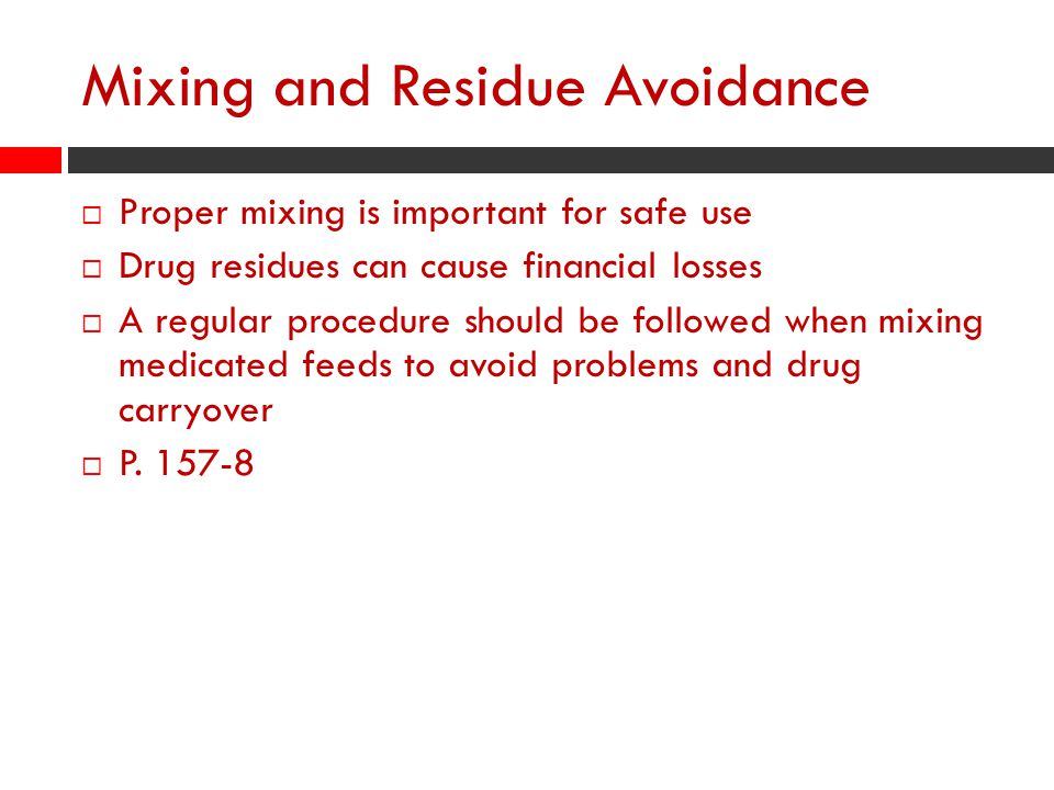 Mixing and Residue Avoidance
