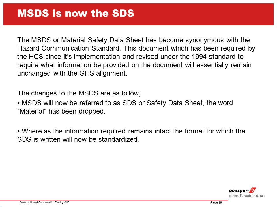 MSDS is now the SDS