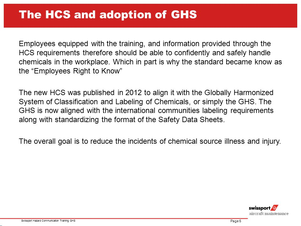 The HCS and adoption of GHS