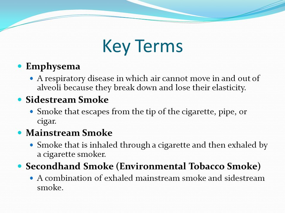 Key Terms Emphysema Sidestream Smoke Mainstream Smoke