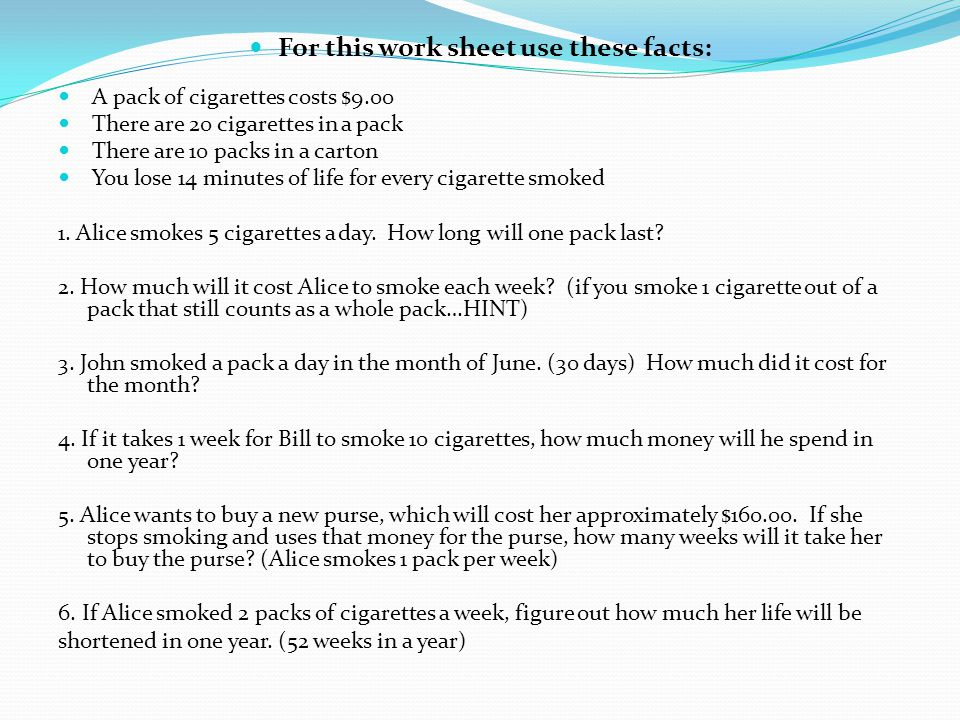 DO NOW 8-27 List the different types of tobacco products ...