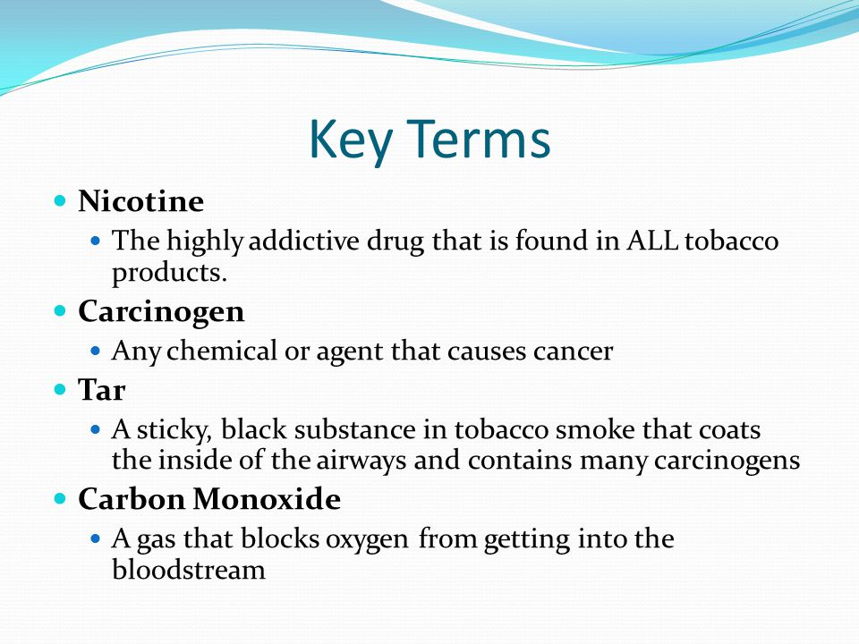 Key Terms Nicotine Carcinogen Tar Carbon Monoxide