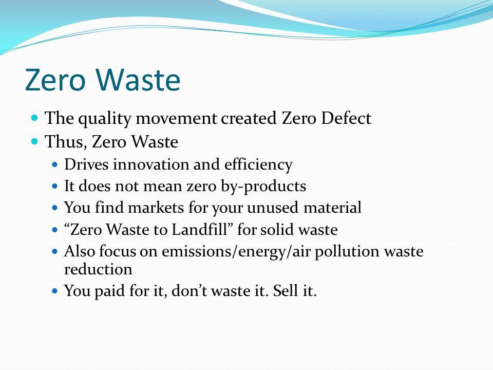 Zero Waste The quality movement created Zero Defect Thus, Zero Waste