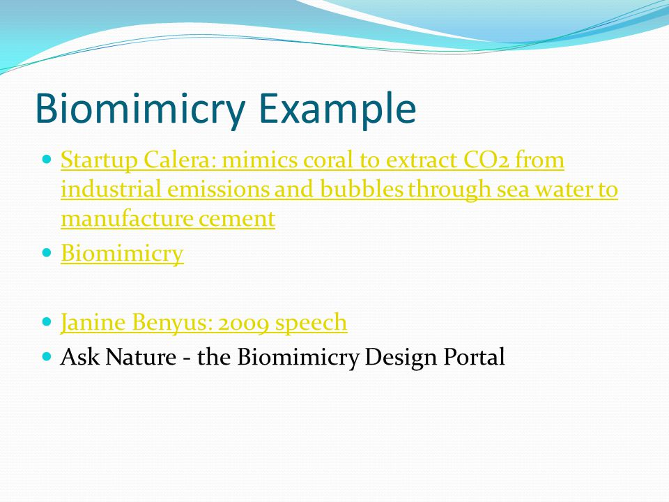 Biomimicry Example Startup Calera: mimics coral to extract CO2 from industrial emissions and bubbles through sea water to manufacture cement.