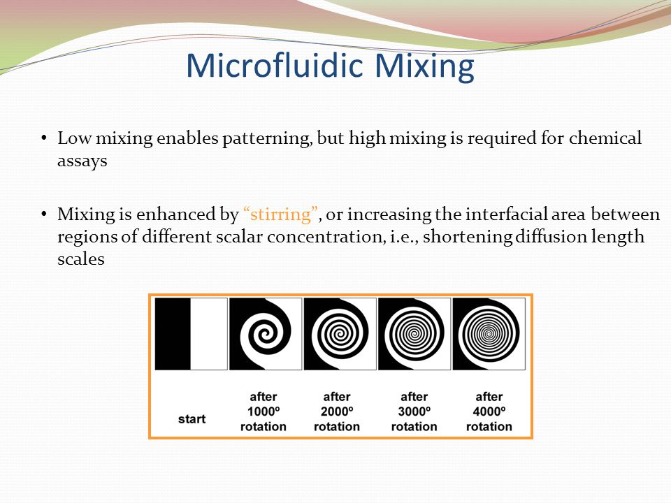 Microfluidic Mixing Low mixing enables patterning, but high mixing is required for chemical assays.