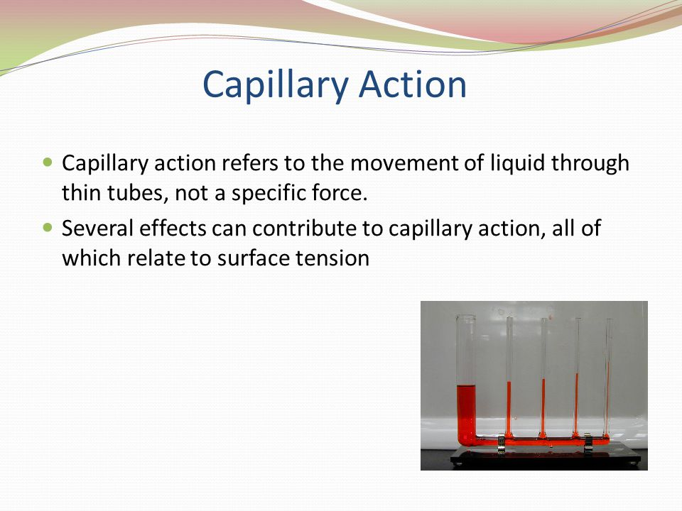 Capillary Action Capillary action refers to the movement of liquid through thin tubes, not a specific force.