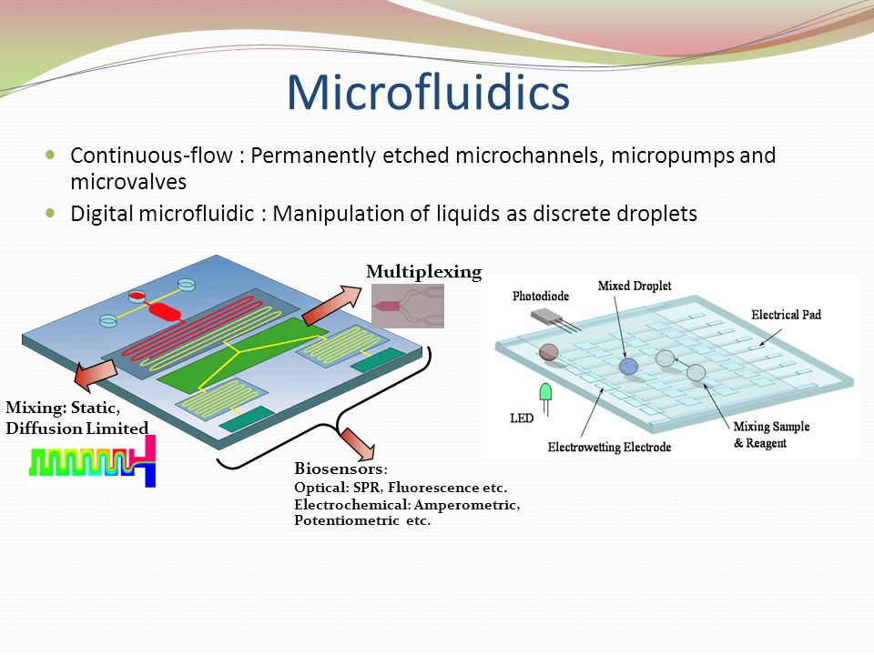 Microfluidics Continuous-flow : Permanently etched microchannels, micropumps and microvalves.