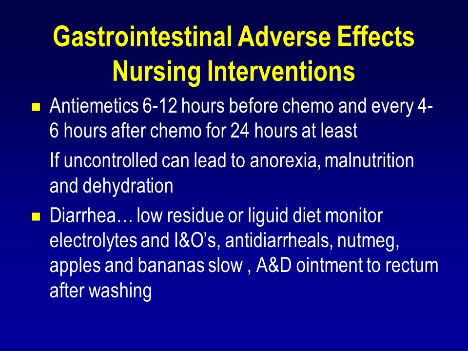 Gastrointestinal Adverse Effects Nursing Interventions