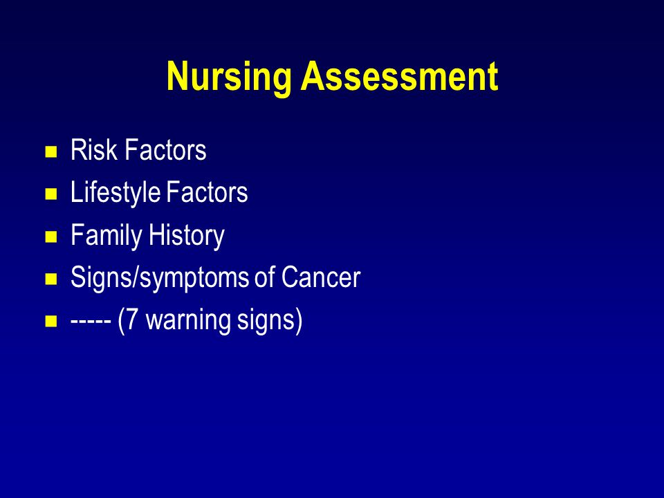Nursing Assessment Risk Factors Lifestyle Factors Family History