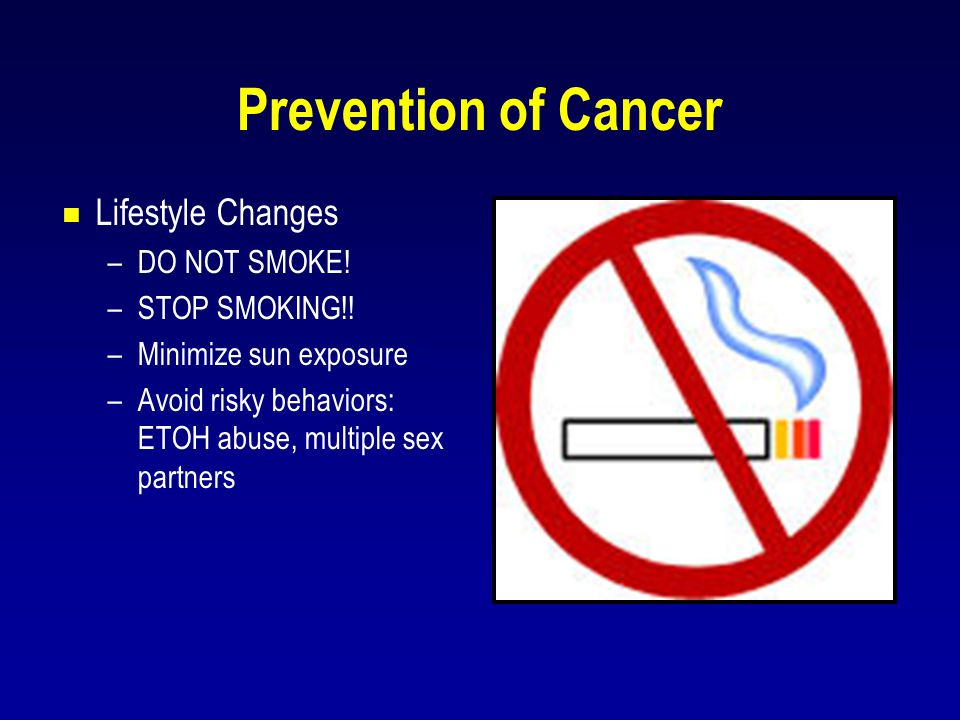 Prevention of Cancer Lifestyle Changes DO NOT SMOKE! STOP SMOKING!!