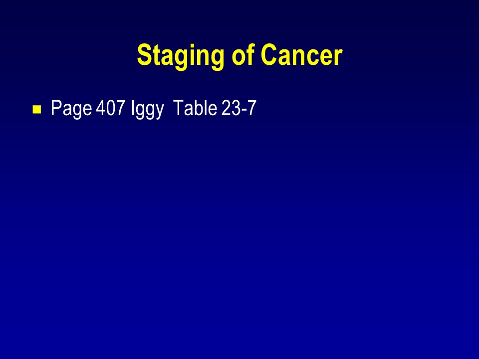 Staging of Cancer Page 407 Iggy Table 23-7