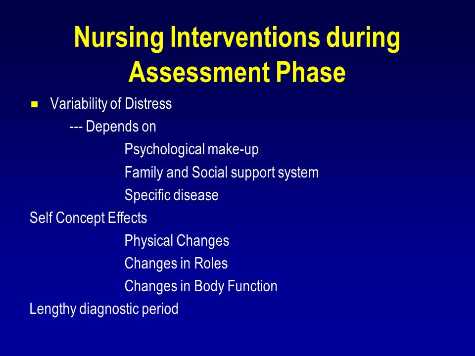 Nursing Interventions during Assessment Phase