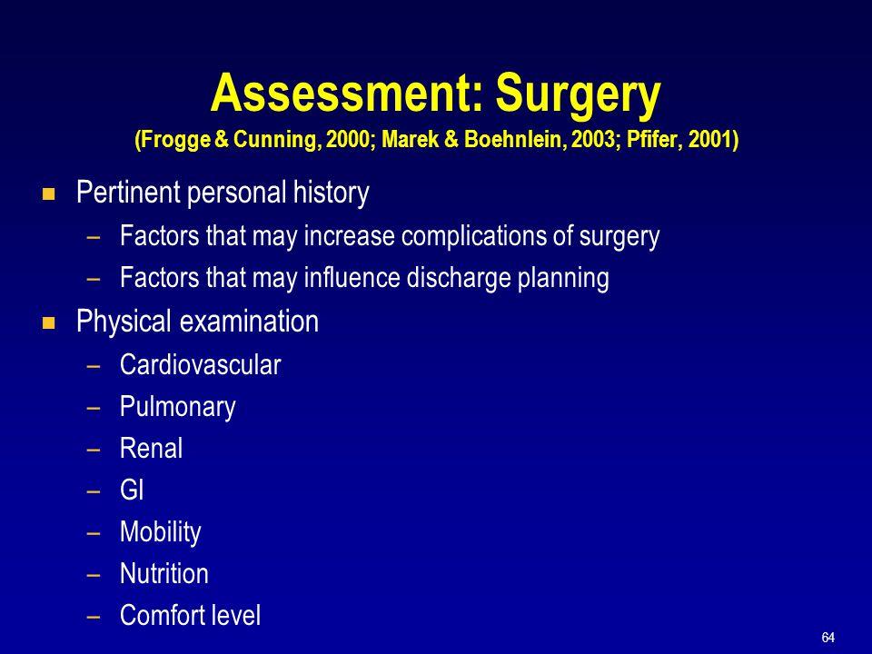 Assessment: Surgery (Frogge & Cunning, 2000; Marek & Boehnlein, 2003; Pfifer, 2001)