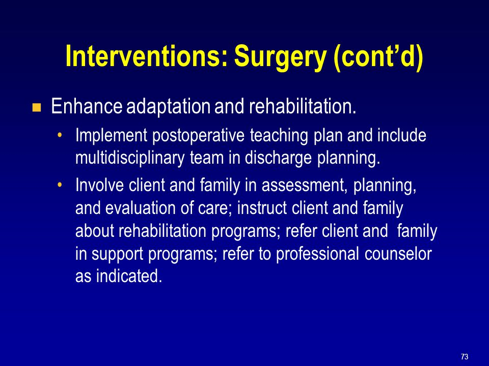 Interventions: Surgery (cont'd)