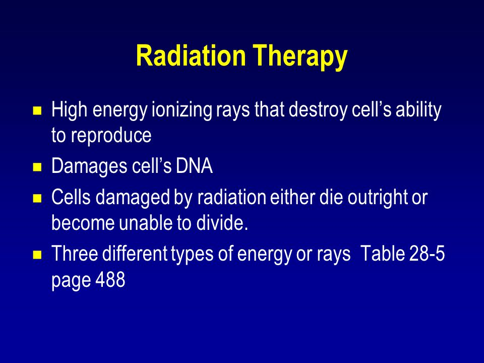 Radiation Therapy High energy ionizing rays that destroy cell's ability to reproduce. Damages cell's DNA.