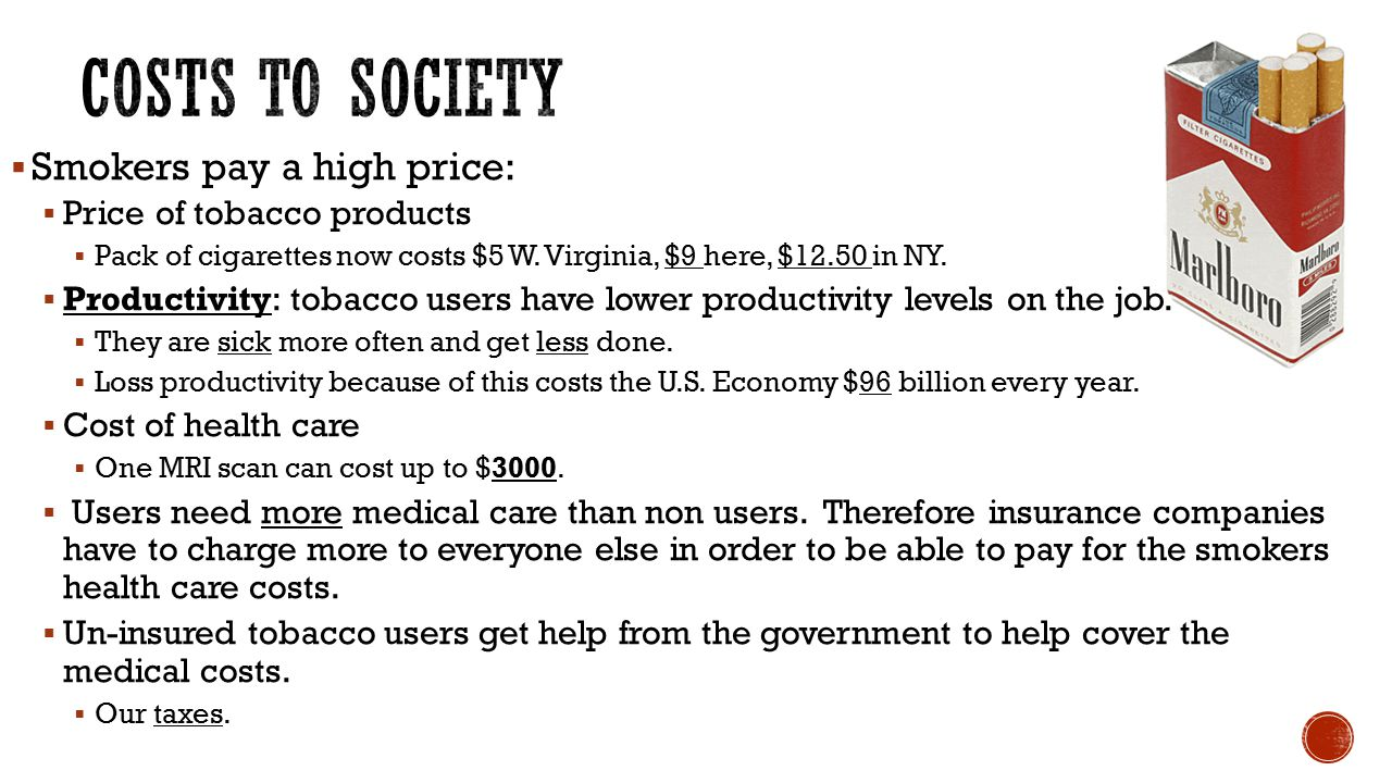 Costs to Society Smokers pay a high price: Price of tobacco products