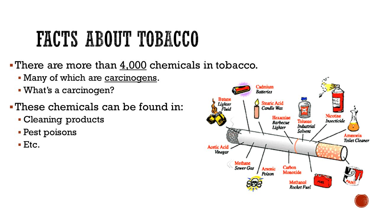 Facts about tobacco There are more than 4,000 chemicals in tobacco.