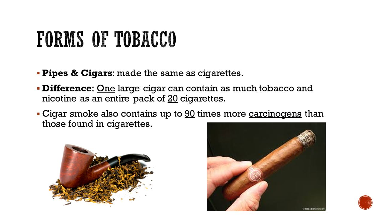 Forms of Tobacco Pipes & Cigars: made the same as cigarettes.