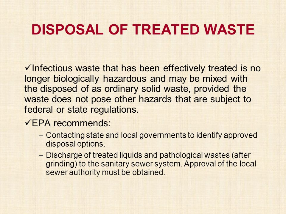 DISPOSAL OF TREATED WASTE