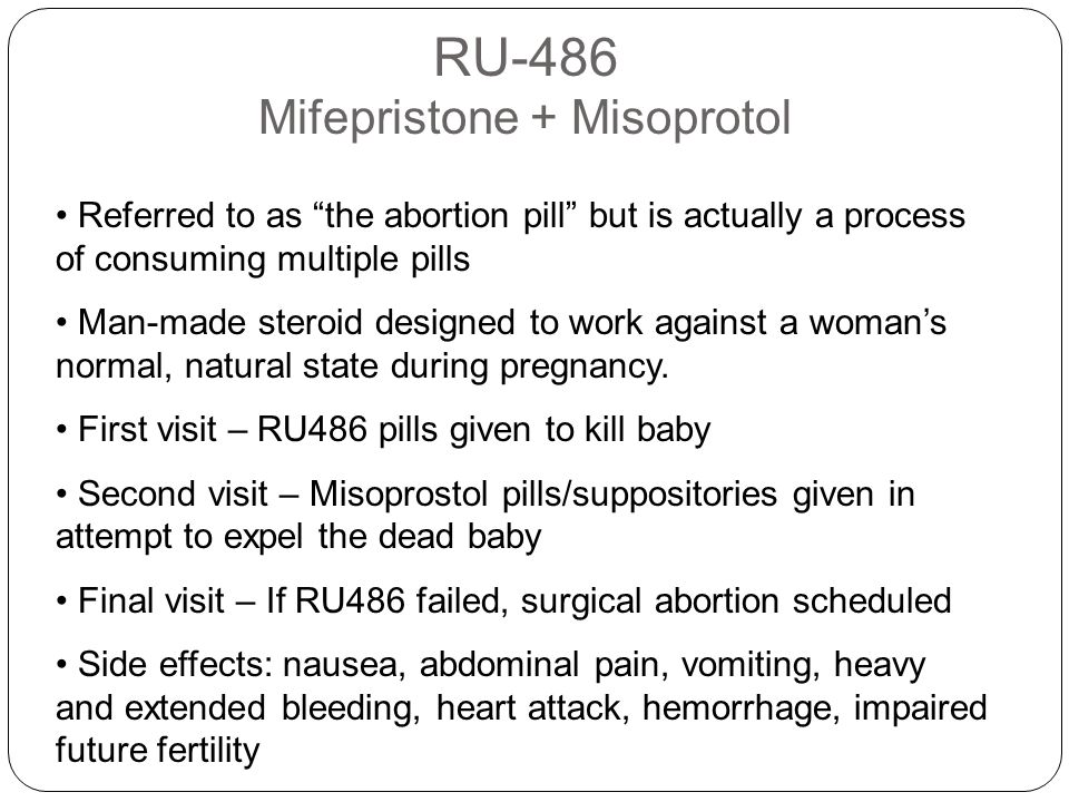 RU-486 Mifepristone + Misoprotol