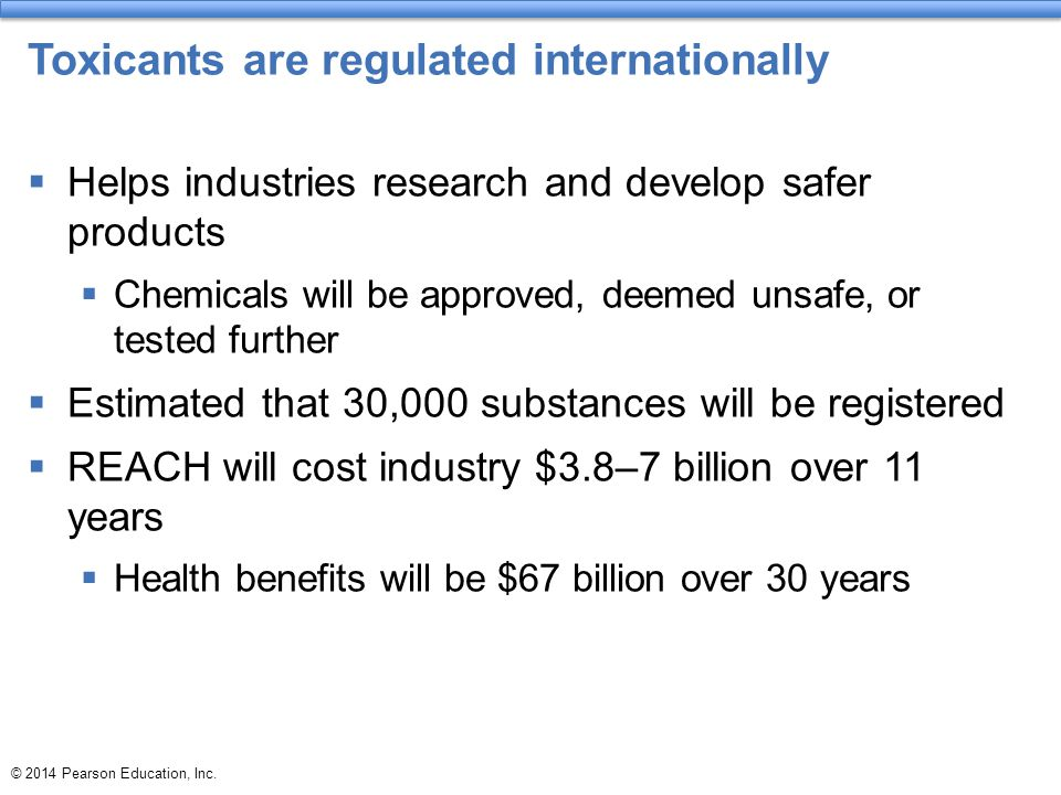 Toxicants are regulated internationally